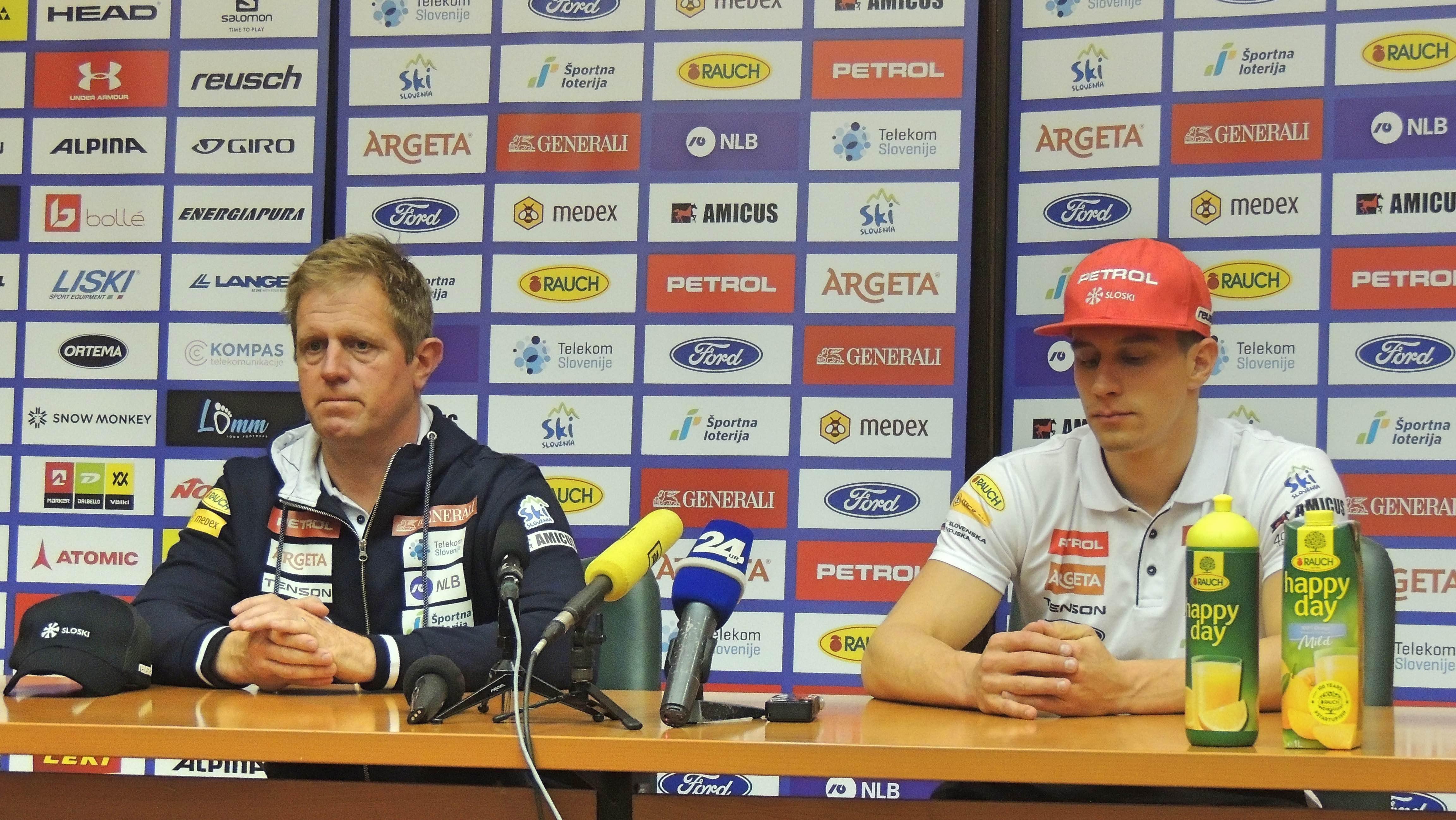 Žan Kranjec in Klemen Bergant sta bila zadovoljna z izkupičkom v Soeldnu (foto: Simon Maljevac)